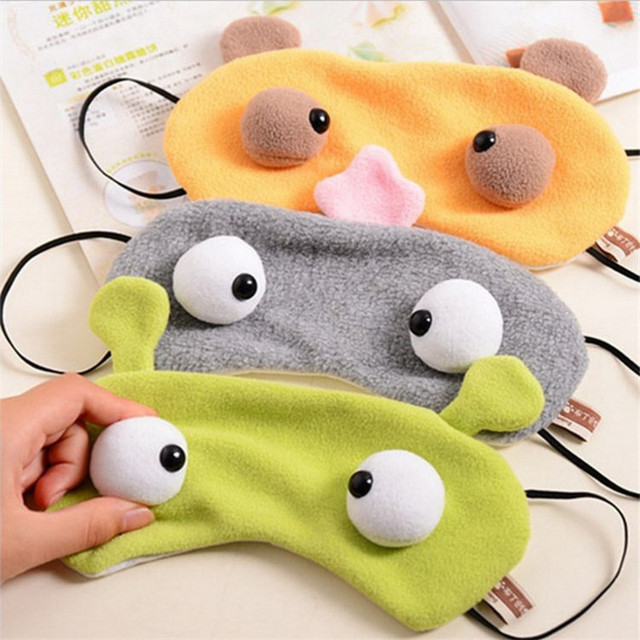 1PC Cartoon Plush Sleeping Mask Big eyes Eyeshade Eye Cover Travel Cartoon Long Eyelashes Blindfold Gift For Women Girls boy