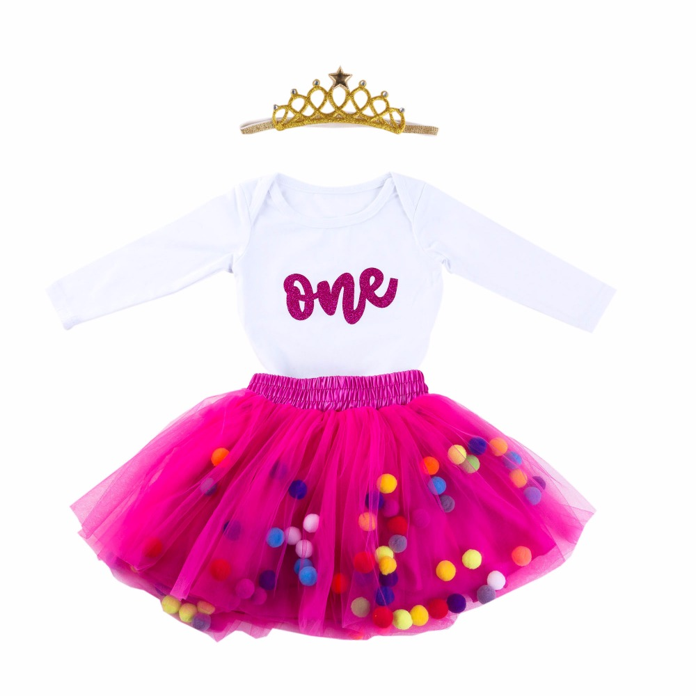 New Arrival 3PCs/Set Baby Girl Glitter One First Birthday Party Outfit Romper Ball Bubble Skirt Baby Girls Crown Headband