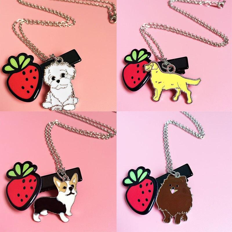 Animal pet necklace best friends gift  jewelry for women pendants lovers Bull terrier Pomeranian dogs bracelet