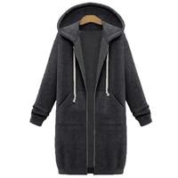 NIBESSER Plus Size 5XL Winter Warm Zip Up Long Hoodies Sweatshirt Women 2018 Autumn Solid Hooded