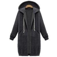 NIBESSER Plus Size 5XL Winter Warm Zip Up Long Hoodies Sweatshirt Women 2017 Autumn Solid Hooded