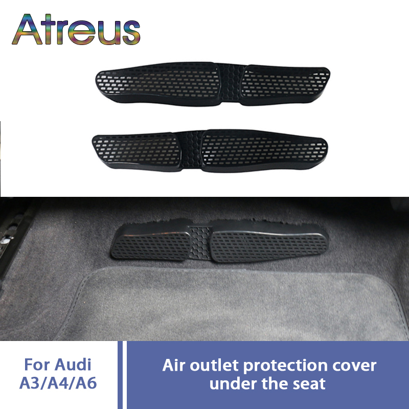 Atreus 2PCS For AUDI A4 B8 S4 RS4 Audi A3 8V Car Seat AC Heater Air Conditioner Duct Grille Vent Outlet Cover Protective Sticker