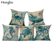Hongbo Marine Sea Horse Turtles Octopus Pattern Throw Pillow Case On Couch Blue Ocean Animal Linen Comfortable Cushion Cover