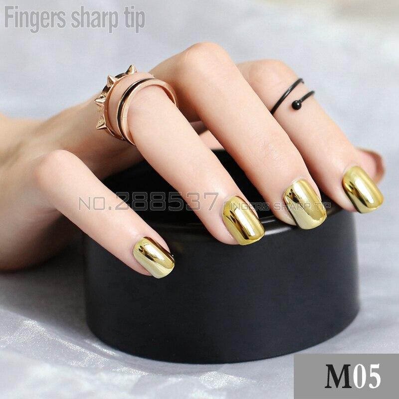 Tienda Online 48 unids espejo de la personalidad uñas postizas rojo ...