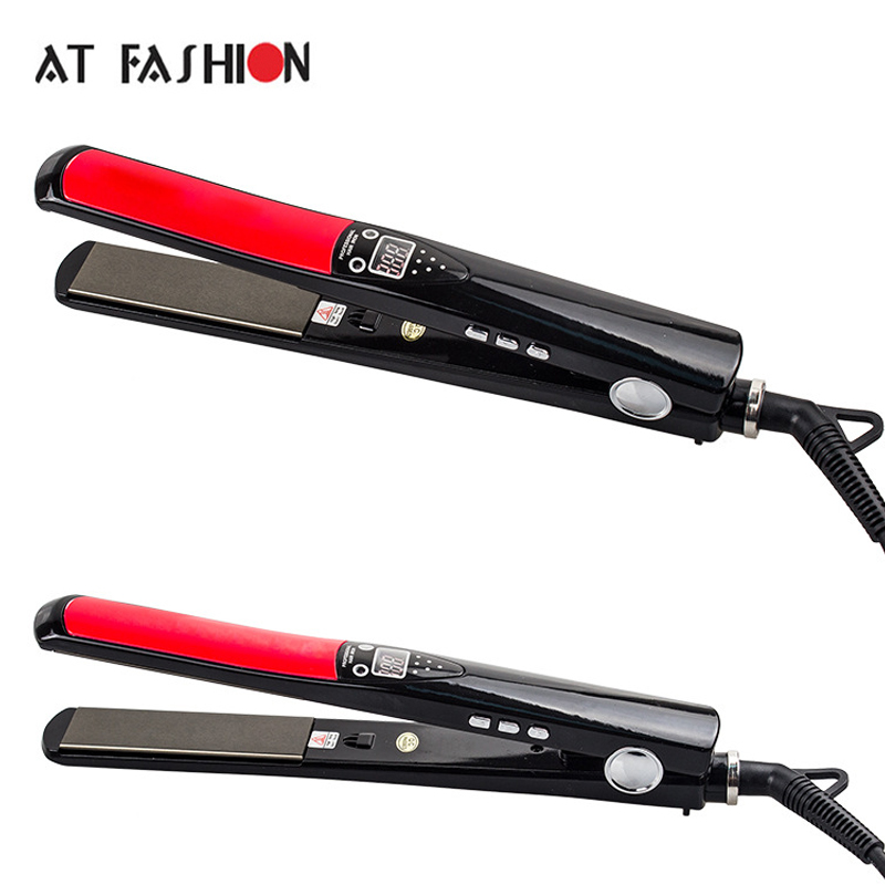 AT FASHION New Hot Hard Titanium Hair straightener Flat Irons Negative ions LCD Display Ceramic Hair Curler 2017 new hot sale professional salon ptc heating white color ceramic negative ions steam automatic hair curler hair style tools