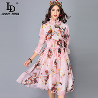 LD LINDA DELLA 2018 Autumn Fashion Runway Dress Women's 3/4 Sleeve Elastic Waist Angel Printed Chiffon Elegant Dress vestido