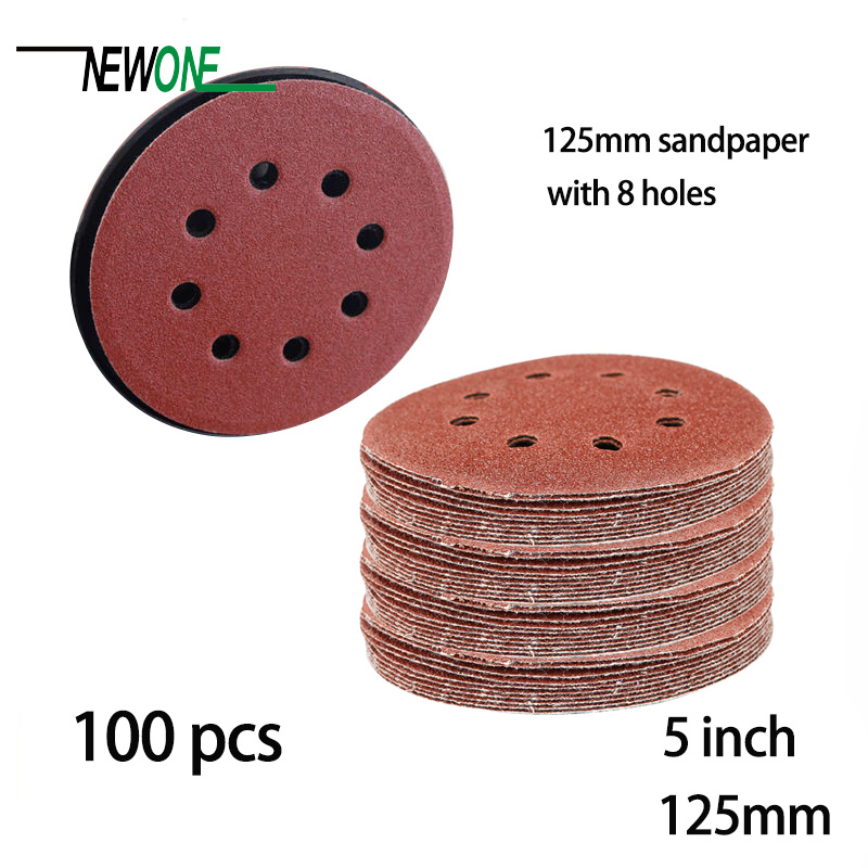 Collection Here 100pcs 125mm Hook & Loop Abrasive Sand Paper 5 Inch Red Sanding Disc With 8 Holes Grits 60~2000 Available Abrasive Tools