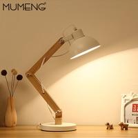 MUMENG Table Lamp 220V E27 Wooden Creative desk light Shaped Flexible Adjustable Folding Reading Light Home Office