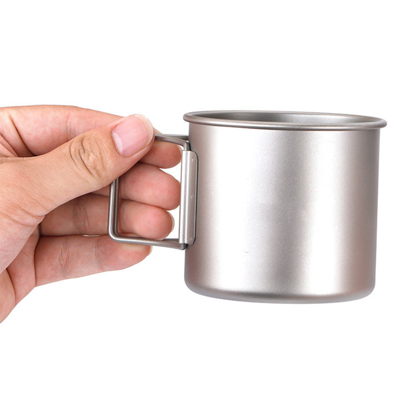 Outdoor Pure Titanium Cup Portable Drinking Cup Mini Coffee Cup 300ml Folding Metal Tea Cup With Lid Cup in Mugs from Home Garden