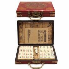 Высокое качество карточные игры 144 плиток Mah-Jong набор Многоцветный портативный винтажный маджонг редкая Китайская Игрушка с бамбуковой коробкой подарки Вечерние