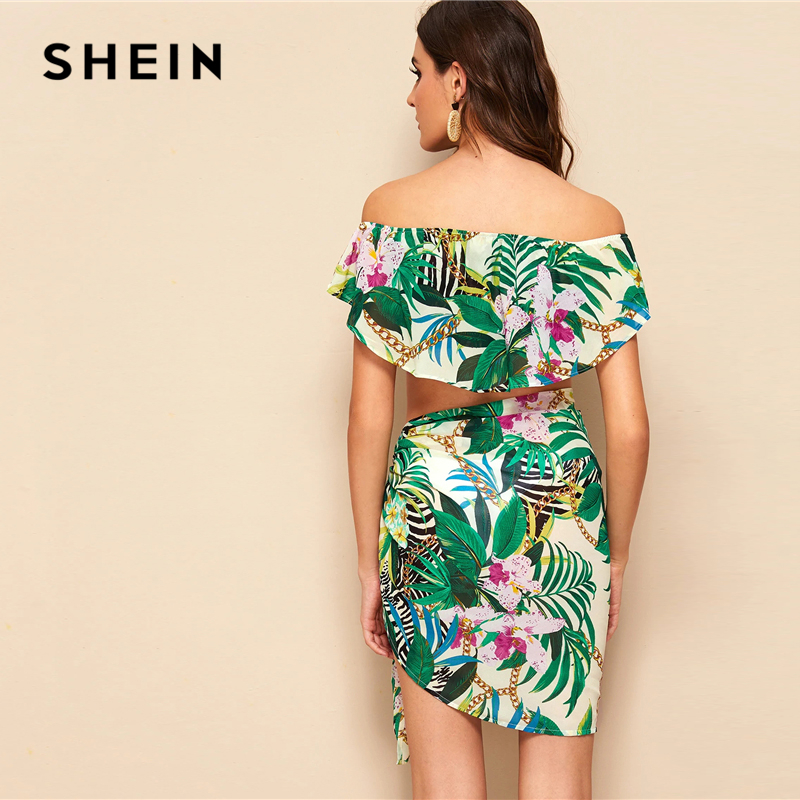 SHEIN Boho Multicolor Off Shoulder Foldover Tropical Crop Top and Tie Skirt Set Women Beach Style Vacation Sexy Two Piece Set 2