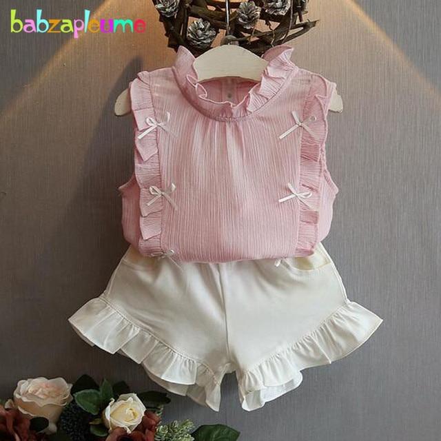 babzapleume Baby Girls Boutique Outfit Summer Clothes Sleeveless Cute Bow  T-shirt+Shorts Children Clothing Set 2PCS Suits BC1033 c91de5b94a