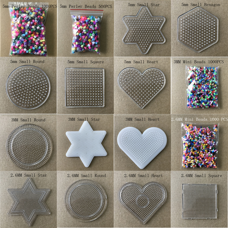 Mixed Mini Perler/Hama/Fuse Beads  2.6mm Pegboards Template Hama Beads Shape Pattern Perler Fuse Beads Pegboards