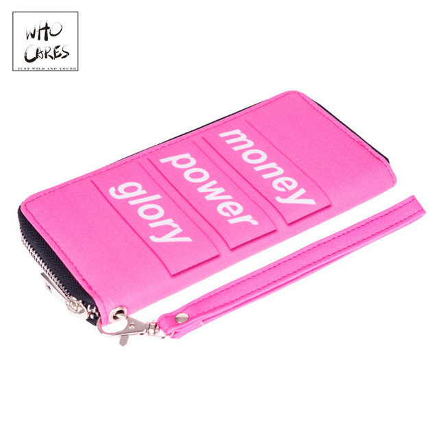 1a53dc66417 Money Power Glory 3D Printing Pink wallet men 2018 Who Cares New woman  wallet carteira feminino wallets purse portefeuille homme