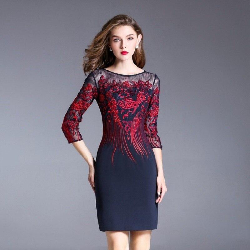 Embroidery Pencil dress 2017 new luxury spring autumn vintage work clothing women dresses plus size M