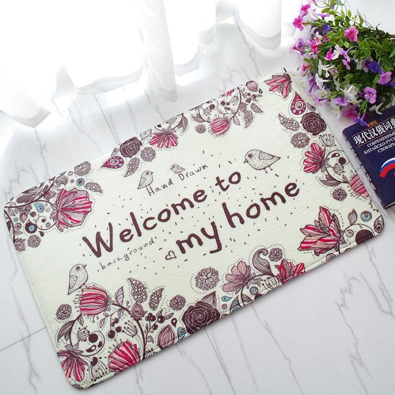 Free Shipping 1 pcs Embroidered printing Non-slip mats Big Door Bathroom Carpet Bedroom Door Soft High Quality Floor Mat BAHE001