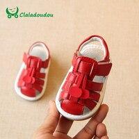 Claladoudou 11.5-13.5 CM Del Bebé Sandalias de La Muchacha de Punto Rojo Genuino Cuero Suave Infantil Niñas Zapatos Sandalias de Verano Haciendo Sonido niño