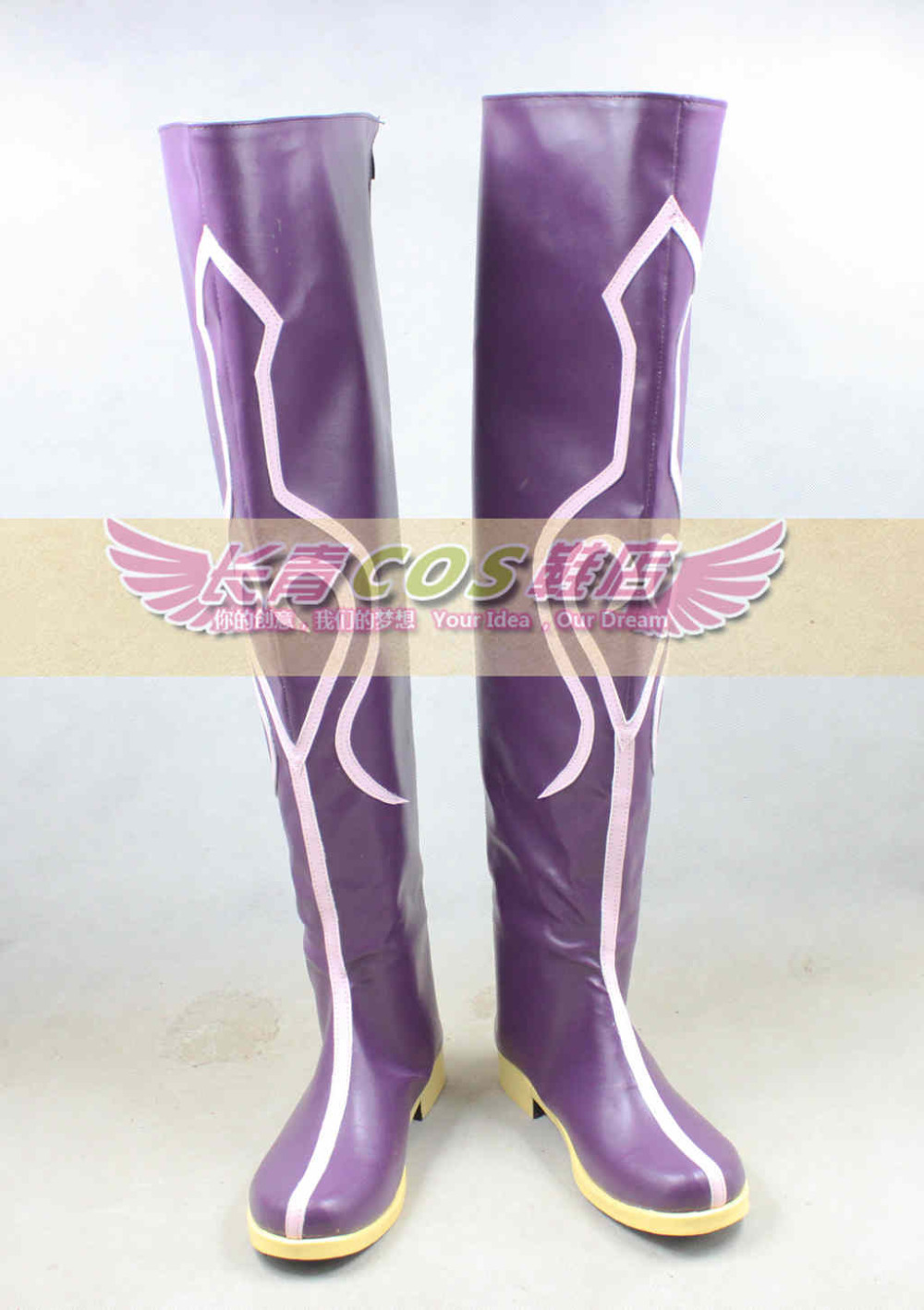 Tales of Xillia Elise Purple Long Cosplay Shoes Boots C006