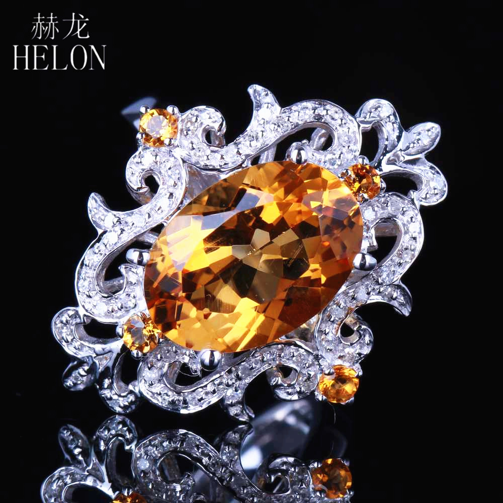 HELON Real 14k White gold Special Flowers Certified Oval 4.5ct Genuine Citrine Diamond Ring For Women Wedding Party Gift JewelryHELON Real 14k White gold Special Flowers Certified Oval 4.5ct Genuine Citrine Diamond Ring For Women Wedding Party Gift Jewelry