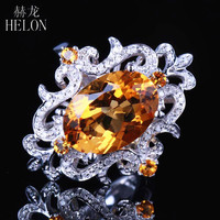 HELON Real 14k White gold Special Flowers Certified Oval 4.5ct Genuine Citrine Diamond Ring For Women Wedding Party Gift Jewelry