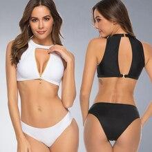 New swimwear solid color split bikini suit fashion hot slim low waist beach swimsuit American Genuine brand design 8068