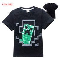 Child Boys Summer Black Grey Cotton T Shirt Minecraft Halloween Costume Clothes For Kids Age 5
