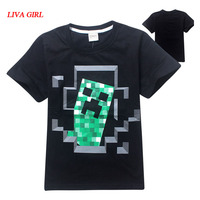 Child Boys Summer Black Grey Cotton T Shirt Minecraft Halloween Costume Clothes For Kids Age 5