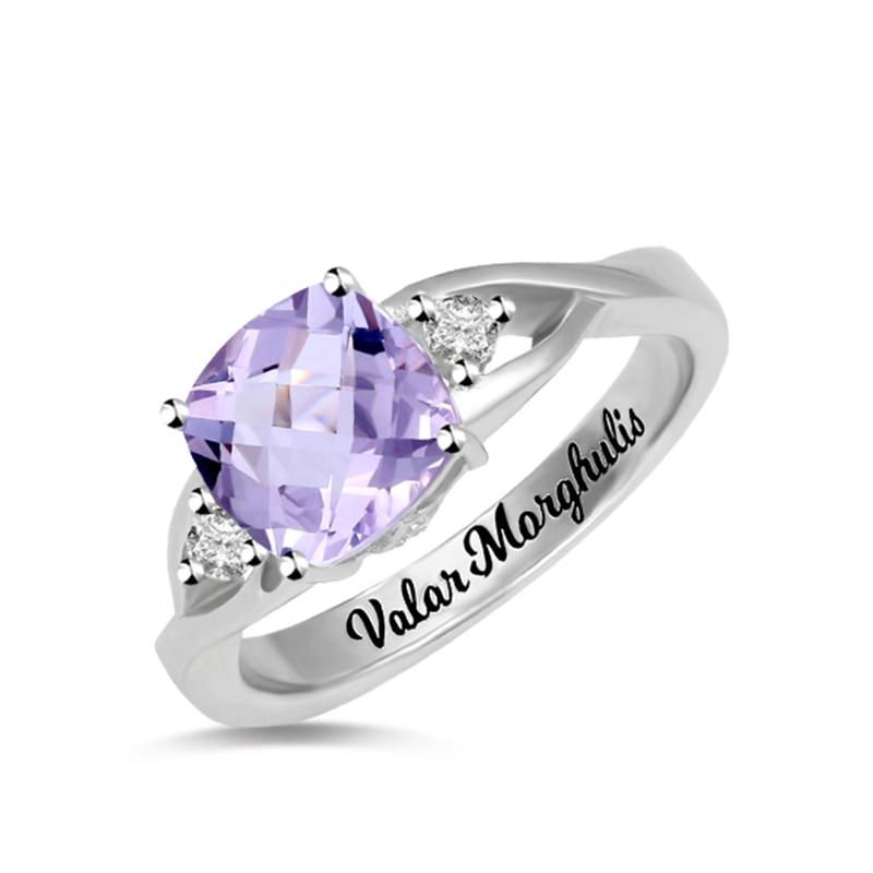 18th Birthday Necklace Sterling Silver Custom Birthstone: AILIN Women's Custom Cushion Birthstone Ring In 925