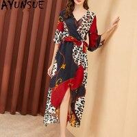 100% Real Silk Vintage Dress Women Clothes 2019 Spring Summer Elegant Leopard Midi Dress Women Dresses Irregular Vestidos MY2465
