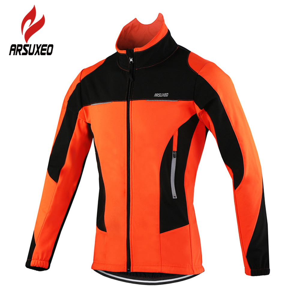 ARSUXEO Fleece Thermal Cycling Jackets Autumn Winter Warm Up Bicycle Clothing Windproof Wind Coat MTB Bike Jerseys ...