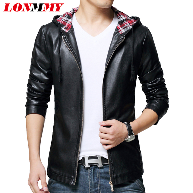 9c98f59be01 US $45.98 15% OFF|LONMMY 5XL Hooded leather jacket men Slim fit Casual  Fashion PU Suede Black red leather coat men jacket 2018 Autumn Spring-in  Faux ...