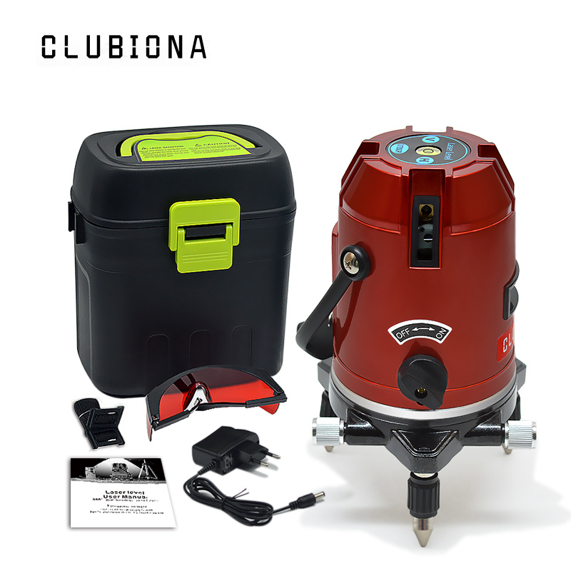 CLUBIONA 5 lines 6 points 360 degrees rotary LD 635nm outdoor mode – receiver and tilt slash available auto line laser level