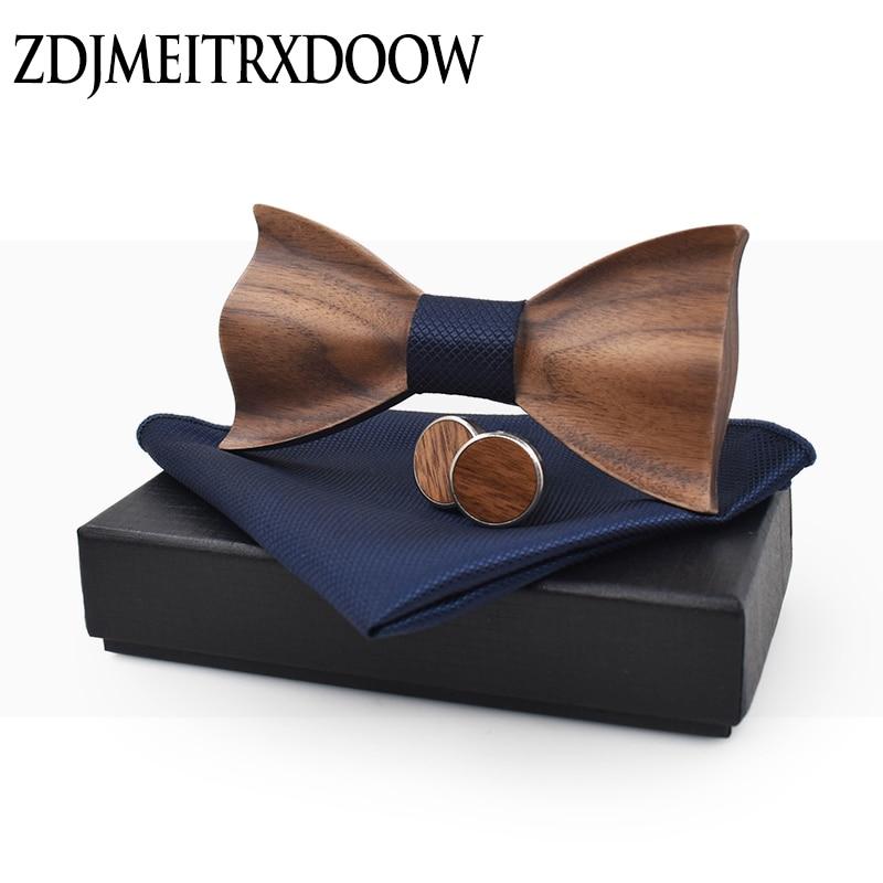 New Design 3D Wooden Tie Pocekt Square Cufflinks Fashion Wood Bow Tie Wedding Dinne Handmade Corbata Wooden Ties Gravata Set