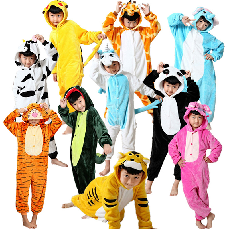 Children's Carnival Costume and Shoes Girls boys Pikachu Dinosaur Totoro Pijamas Winter Cartoon Kids Pajamas Sleepwear Jumpsuits