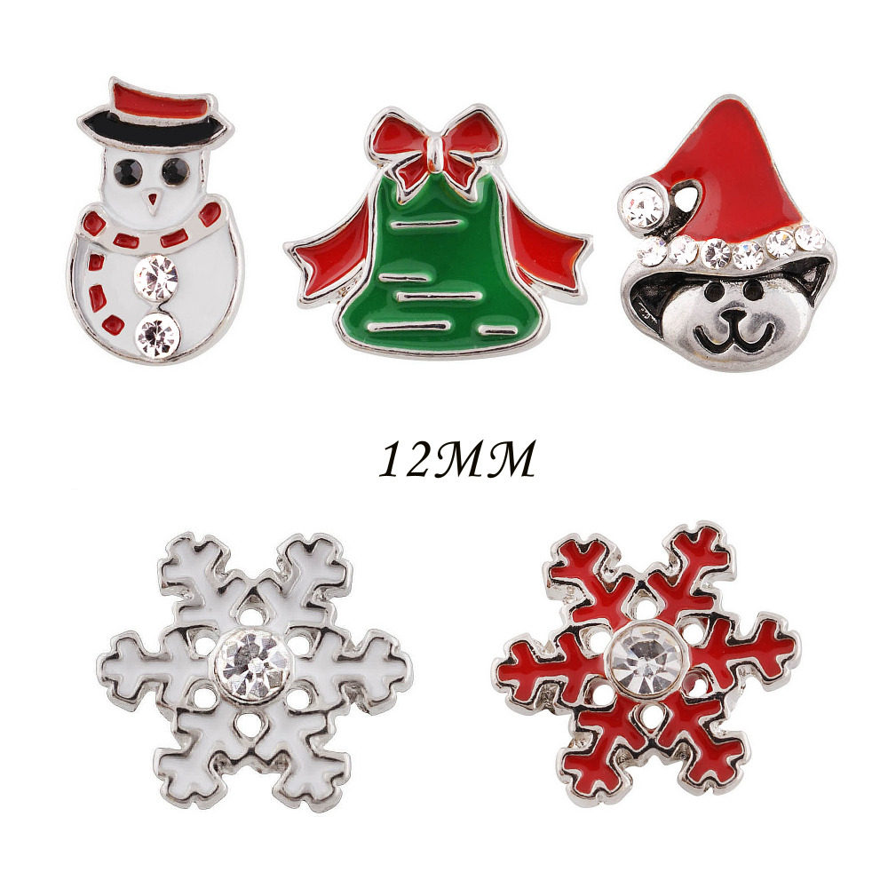 Christmas hat snowman 12mm metal snap button Wrist watches for women charm bead bracelet DIY jewelry KS6228-S