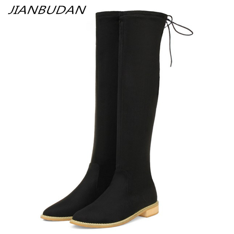 JIANBUDAN/ Flat heel thigh-high boots Womens fashion sexy thigh high Suede knee-high womens Autumn winter shoes