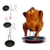 Newest Non Stick Chicken Roaster Rack With Bowl BBQ Accessories Tools Barbecue Grilling Baking Cooking Pans