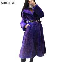 SHILO GO Fur Coat Womens Winter Fashion whole real Mink Fur long coat laple collar big skirt dark purple pocket x long coat