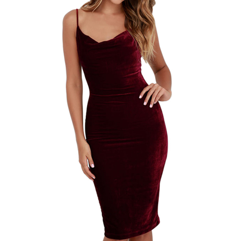 <font><b>2018</b></font> <font><b>women</b></font> <font><b>sexy</b></font> Velvet Cami <font><b>Dress</b></font> <font><b>Ladies</b></font> Club Wear <font><b>V</b></font> <font><b>Neck</b></font> Sleeveless Backless Straight Pencil <font><b>Bodycon</b></font> <font><b>Dress</b></font> Wine Red Vestidos image