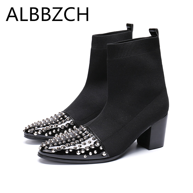 New Men Chelsea Boots High Heels Luxury Rivets Designer Fashion Trned  Career Work Ankel Boots Mens Height Increase Party ShoesNew Men Chelsea Boots High Heels Luxury Rivets Designer Fashion Trned  Career Work Ankel Boots Mens Height Increase Party Shoes