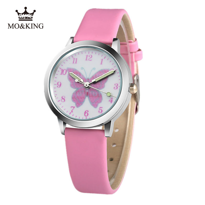 Color Cute Colorful Cartoon Butterfly Children Watch Pink White Boy Girl Clock Baby Birthday Gift Watch Box Reloj Relojes Kids