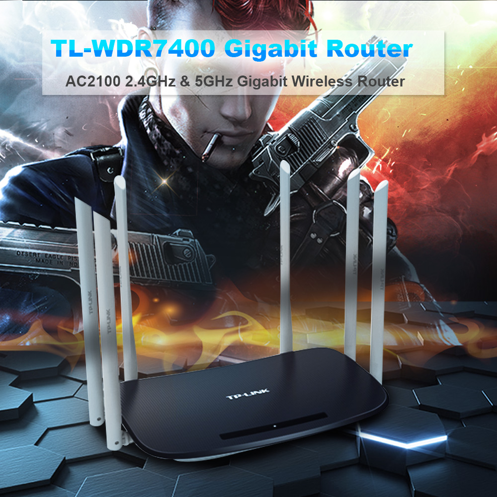 Wireless Wifi Router Tp-Link WDR7400 Wi-Fi Repeater 6 Antenna 2 4ghz&5ghz  80ac 2033Mbps Repeater Archer C7 Soho Router