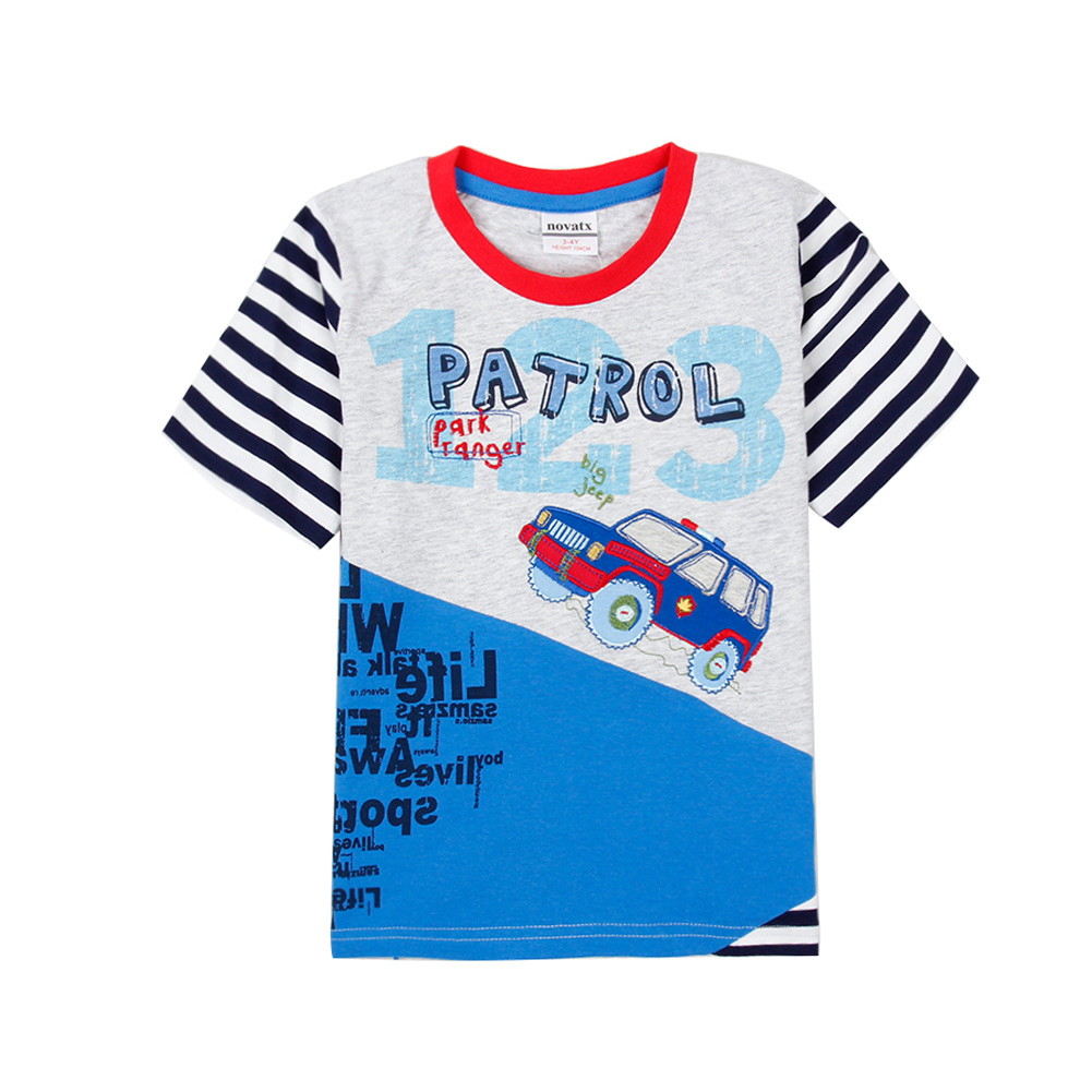 Design t shirt baby - New Arrival Baby Boys T Shirt Color Block Printed Pattern Striped Design Kids Tops Contrast