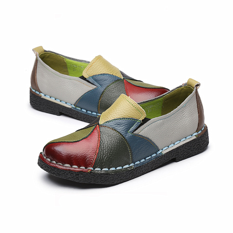 DONGNANFENG Women's Ladies Female Woman Shoes Flats Mother Shoes Cow Genuine Leather Loafers Ballerina Colorful Non Slip On Zapatillas Mujer Ballet Designer Mocassin Femme Slip-On Mixed Colors Plus size 35-42 OL-2098 4