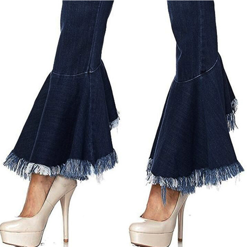 Fashion Women Hight Waisted Skinny Hole Denim Jeans Flare Pants Stretch Slim Pants Bell-bottoms Casual Jean Lady Jeans #K29 (4)