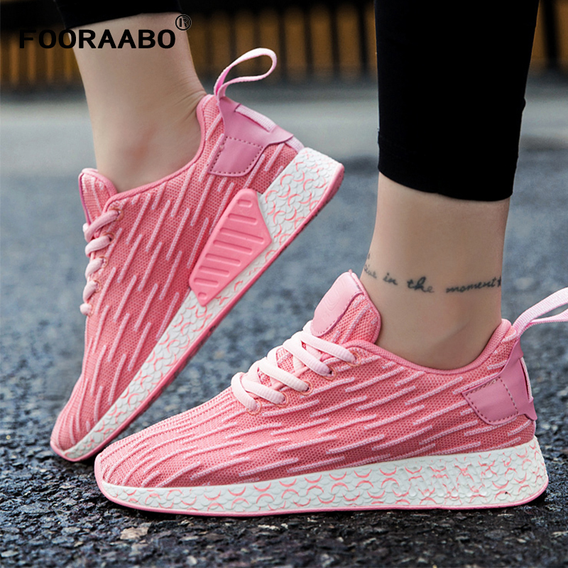 FOORAABO 2018 New Spring Women Casual Shoes Summer Breathable Mesh Flat Female Platform Woman Walking Shoes Pink Chaussure Femme classic breathable flower women shoes summer casual women beach mesh shoes women casual massage walking sapatos femininos