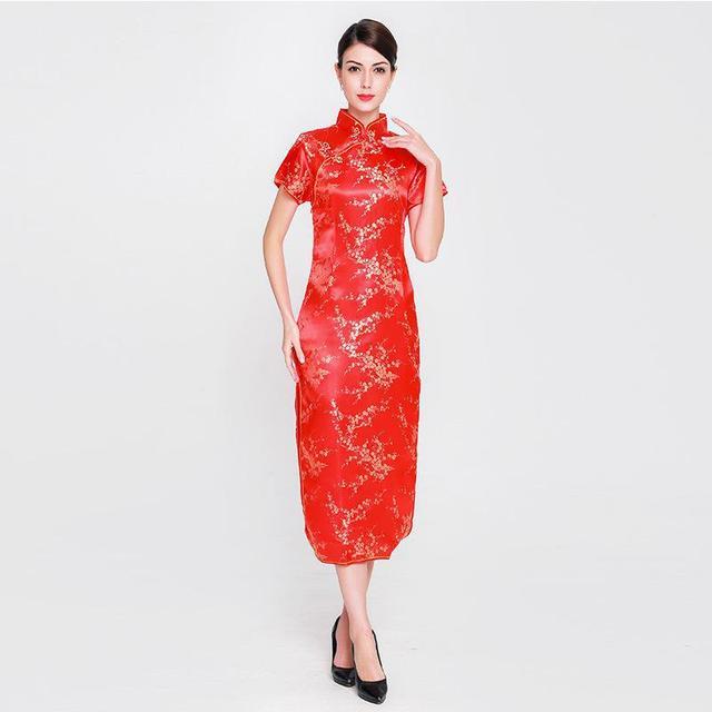 Vintage Women Mandarin Collar Cheongsam RED Chinese Bride Wedding ...