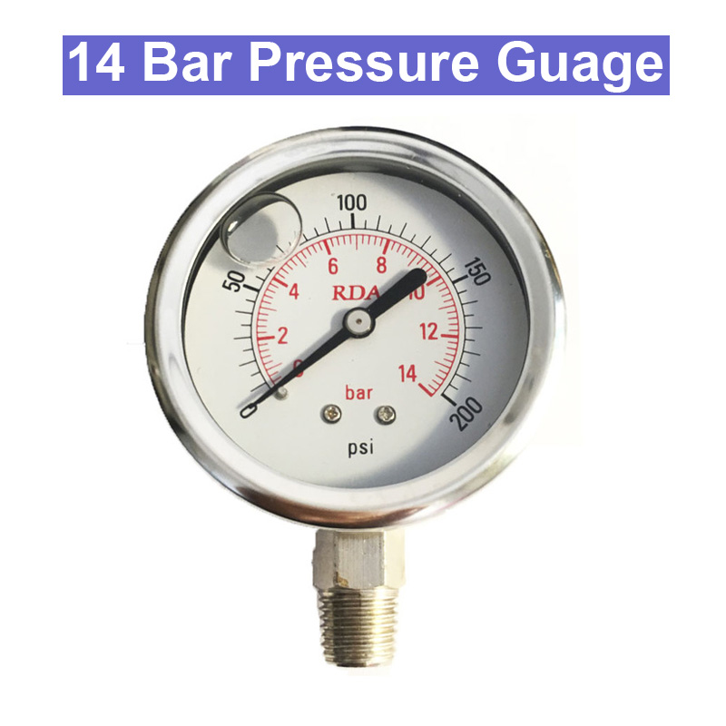URANN 2pcs 0-200 PSI 2 Bar 7 bar 14 Bar 60mm Stainless Steel Hydraulic Liquid Filled Pressure Gauge NPT1/4 ynxc 60 2 5 shock proof magnetic help 60mm oil liquid filled electric contact pressure gauge manometer lower mount bottom