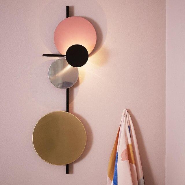 Macaron Fond Couleur Éclairage Lampe Applique Salon G946 Planète Led Cuivre Maison Design Appliques Mur Danois Murale Disque lOXTPZwkiu