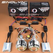Motorcycle Headlight Double Angel Eyes Halo+Demon HID Bi-xenon Lens Projector Kit For Honda CBR600F4i/CBR1000RR/Yamaha R1 R6 R15
